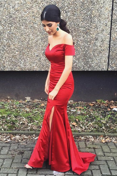 Mermaid Off-the-Shoulder Short Sleeves Sweep Train Red Prom Dress PDA461 | ballgownbridal