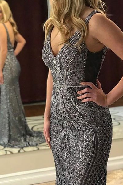 Mermaid Deep V-Neck Sweep Train Grey Lace Sleeveless Backless Prom Dress with Beading LR88