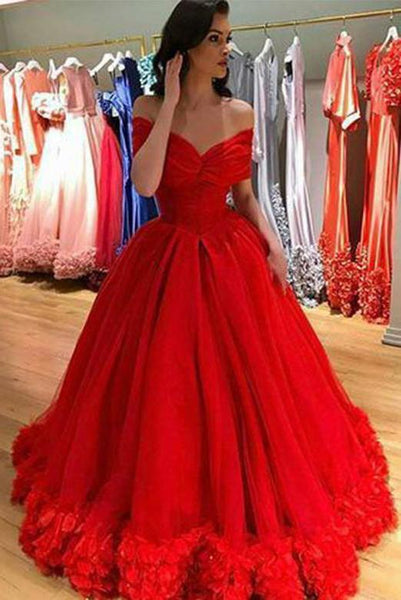 Ball Gown Red Long Prom Dresses Off the Shoulder Evening Dresses PDA003 | ballgownbridal