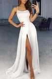 A-Line Spaghetti Straps Sweep Train White Prom Dress with Split LR23