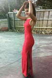 Mermaid Crew Floor-Length Backless Split-Side Red Stretch Satin Prom Dress AHC672 | ballgownbridal