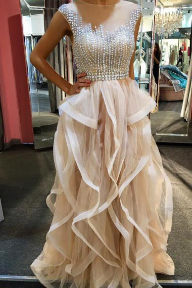 A-Line Jewel Floor-Length Champagne Tulle Prom Dress with Beading Ruffles AHC695 | ballgownbridal