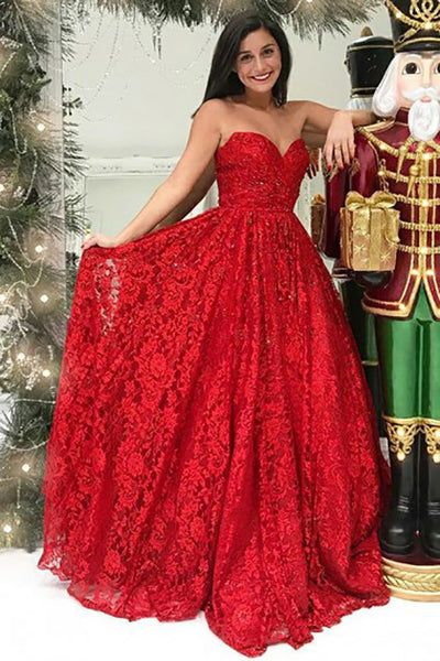 A-Line Sweetheart Sweep Train Red Lace Sleeveless Pleats Prom Dress LR326