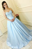 A-Line Sweetheart Sweep Train Light Blue Prom Dress with Appliques PDA311 | ballgownbridal