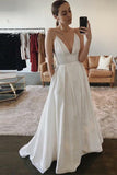 Simple Spaghetti Straps White Satin Long Beach Wedding Dresses PDA178 | ballgownbridal