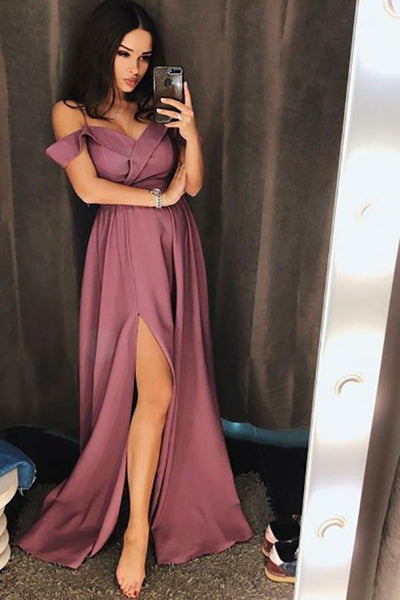 A-Line Spaghetti Straps Floor-Length Purple Prom Dress with Split LR16