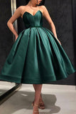 Sweetheart Green Satin Prom Dresses Royal Blue Tea Length Party Dress PDA132 | ballgownbridal