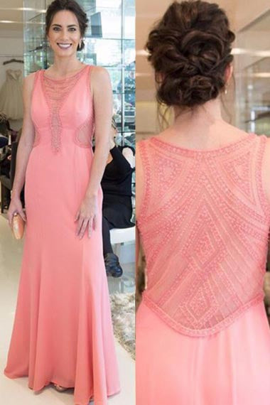 Mermaid Crew Floor-Length Watermelon Stretch Satin Prom Dress with Beading AHC687 | ballgownbridal