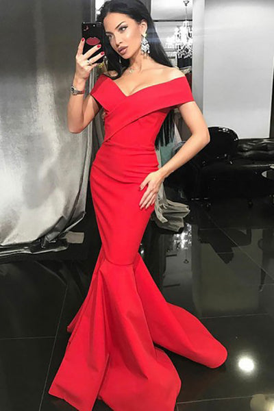 Mermaid Off-the-Shoulder Sweep Train Red Satin Sleeveless Prom Dress LR99