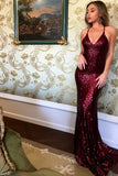 Mermaid Spaghetti Straps Backless Sweep Train Dark Red Sequined Prom Dress PDA407 | ballgownbridal
