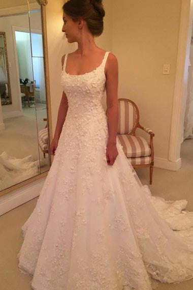A-Line Scoop Sweep Train White Tulle Sleeveless Wedding Dress with Appliques AHC573 | ballgownbridal