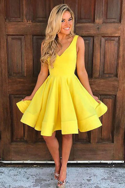 A Line Deep V Neck Knee Length Sleeveless Yellow Satin Homecoming Dress PDA052 | ballgownbridal