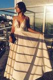 A-Line Spaghetti Straps Floor-Length Beige Satin Prom Party Dress PDA324 | ballgownbridal