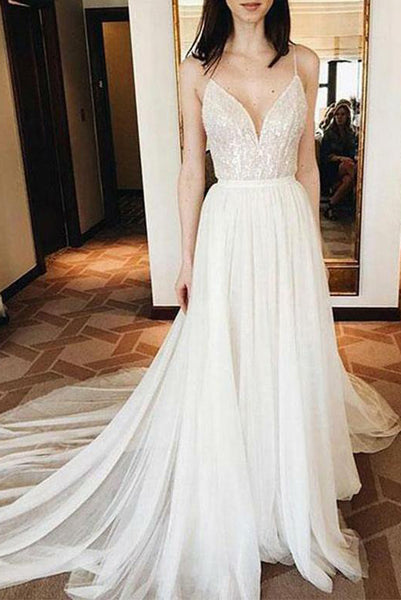 White Tulle Long Wedding Dresses Spaghetti Straps with Appliques PDA179 | ballgownbridal