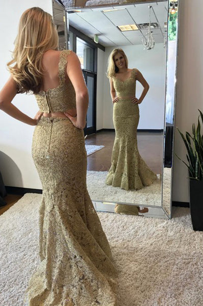 Two Piece Mermaid V-Neck Sweep Train Gold Lace Prom Party Dress PDA336 | ballgownbridal