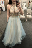 A-Line Jewel Sweep Train Sage Tulle Prom Dress with Appliques Beading LR313