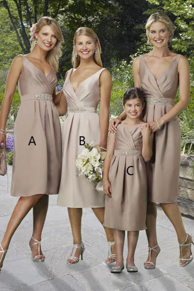 A-Line V-Neck Knee-Length Coffee Satin Bridesmaid Dress with Beading AHC655