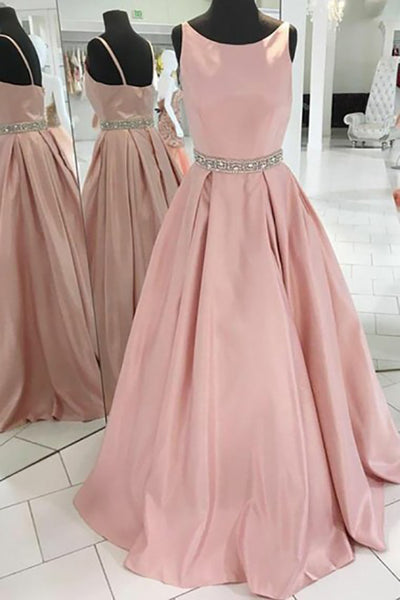 A-Line Crew Sweep Train Pink Satin Sleeveless Prom Dress with Beading LR346