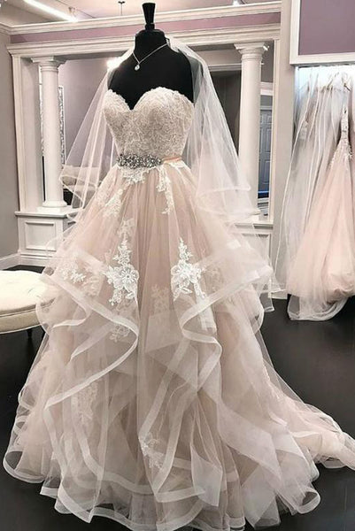 Sweetheart White Wedding Dresses Appliques Beading with Ruffles PDA161 | ballgownbridal