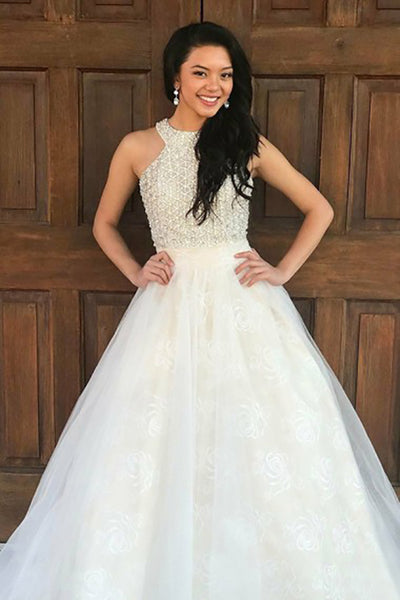 A-Line Crew Sweep Train White Tulle Sleeveless Prom Dress with Beading Lace LR165