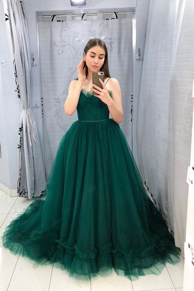 Sweetheart Neck Green Tulle Spaghetti Straps Long Dress PDA483 | ballgownbridal