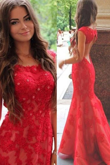 Mermaid Scoop Sweep Train Cap Sleeves Open Back Red Lace Prom Dress AHC683 | ballgownbridal