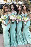 Mermaid Off-the-Shoulder Sweep Train Green Satin Bridesmaid Dress with Lace AHC651