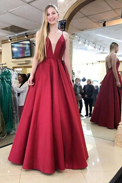 A-Line Spaghetti Straps Backless Floor-Length Burgundy Prom Dress LR18