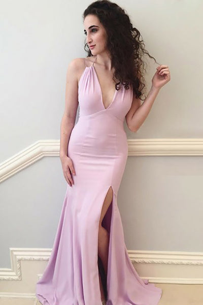 Mermaid Deep V-Neck Criss-Cross Straps Pink Split Sleeveless Prom Dress LR246