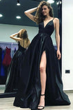 A-Line Deep V-Neck Split Side Black Sweep Train Satin Backless Prom Dress AHC535