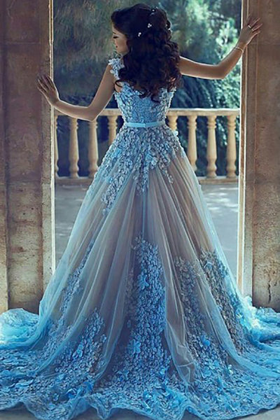 A-Line V-Neck Court Train Blue Tulle Prom Dress with Appliques Beading AHC496