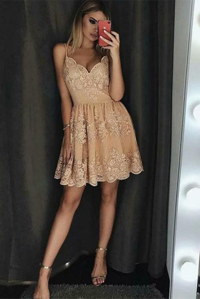 Spaghetti Straps Champagne Short Homecoming Dresses with Appliques PDA136 | ballgownbridal