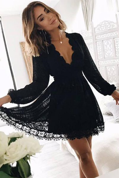 A Line Deep V Neck Long Sleeves Little Black Lace Homecoming Dress PDA018 | ballgownbridal
