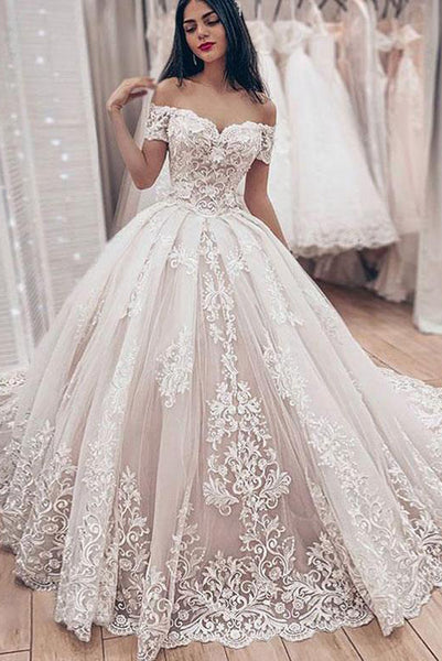 Princess Ball Gown White Wedding Dresses Off the Shoulder with Appliques PDA038 | ballgownbridal