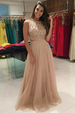 A-Line Jewel Sweep Train Champagne Tulle Prom Dress with Beading LR473
