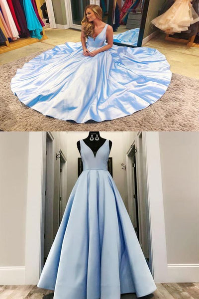 Charming V neck Blue Formal Evening Dress, Long Prom Dresses LR4