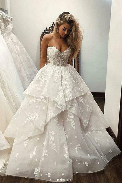 Beautiful A Line Sweetheart White Wedding Dresses with Appliques PDA024 | ballgownbridal