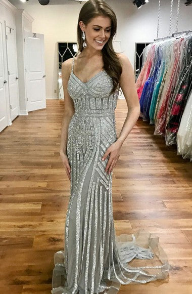 Mermaid Spaghetti Straps Sweep Train Silver Tulle Prom Dress with Beading LR220