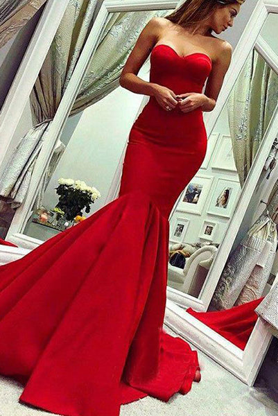 Mermaid Red Long Prom Dresses Sweetheart Evening Dress Sweep Train PDA203 | ballgownbridal
