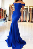 Mermaid Off-the-Shoulder Sweep Train Royal Blue Stretch Satin Sleeveless Prom Dress LR193