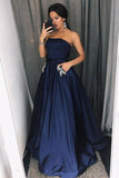 A Line Strapless Navy Blue Satin Floor Length Prom Evening Gowns with Appliques PDA014 | ballgownbridal