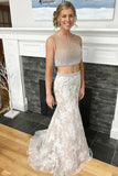 Two Piece Crew Neck Sweep Train Light Champagne Prom Dress with Beading PDA473 | ballgownbridal