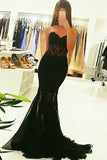 Mermaid Sweetheart Sweep Train Black Tulle Prom Dress with Appliques AHC501