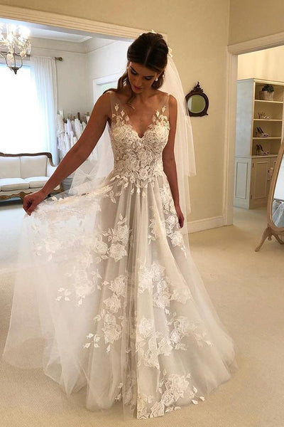 Gorgeous Off Shoulder Sweetheart Low Back Lace Wedding Dresses Long Bridal Dress AHC561 | ballgownbridal