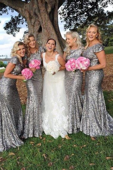Mermaid Crew Sweep Train Cap Sleeves Silver Sequined Bridesmaid Dress AHC607