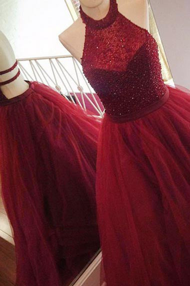 A-Line Halter Sweep Train Backless Dark Red Tulle Prom Dress with Beading AHC665 | ballgownbridal