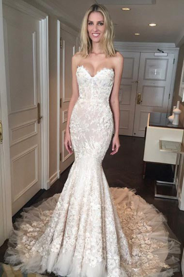 Mermaid Sweetheart Court Train Champagne Tulle Wedding Dress with Appliques Lace AHC594