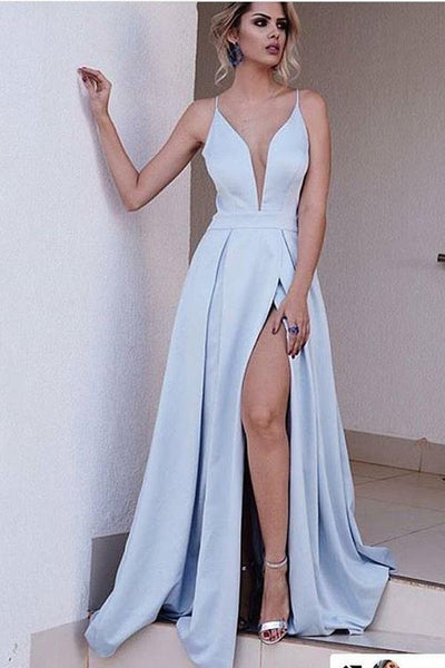 Blue A Line Brush Train Deep V Neck Sleeveless Side Slit Prom Dress AHC550