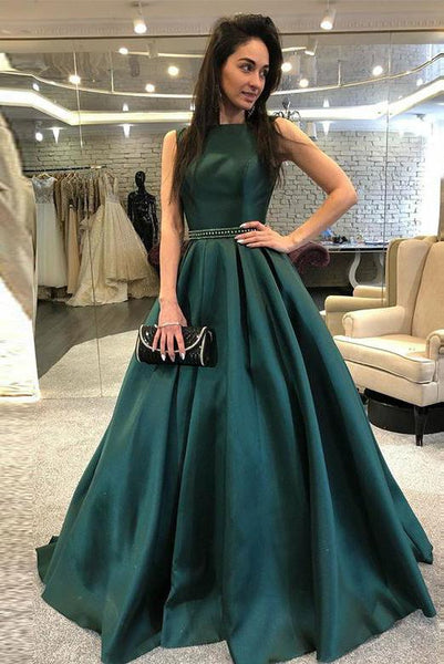 Bateau Green Long Prom Dresses Beading Open Back PDA002 | ballgownbridal