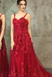 Burgundy Long Sling Appliqué Mopping Ball Gown DHC001